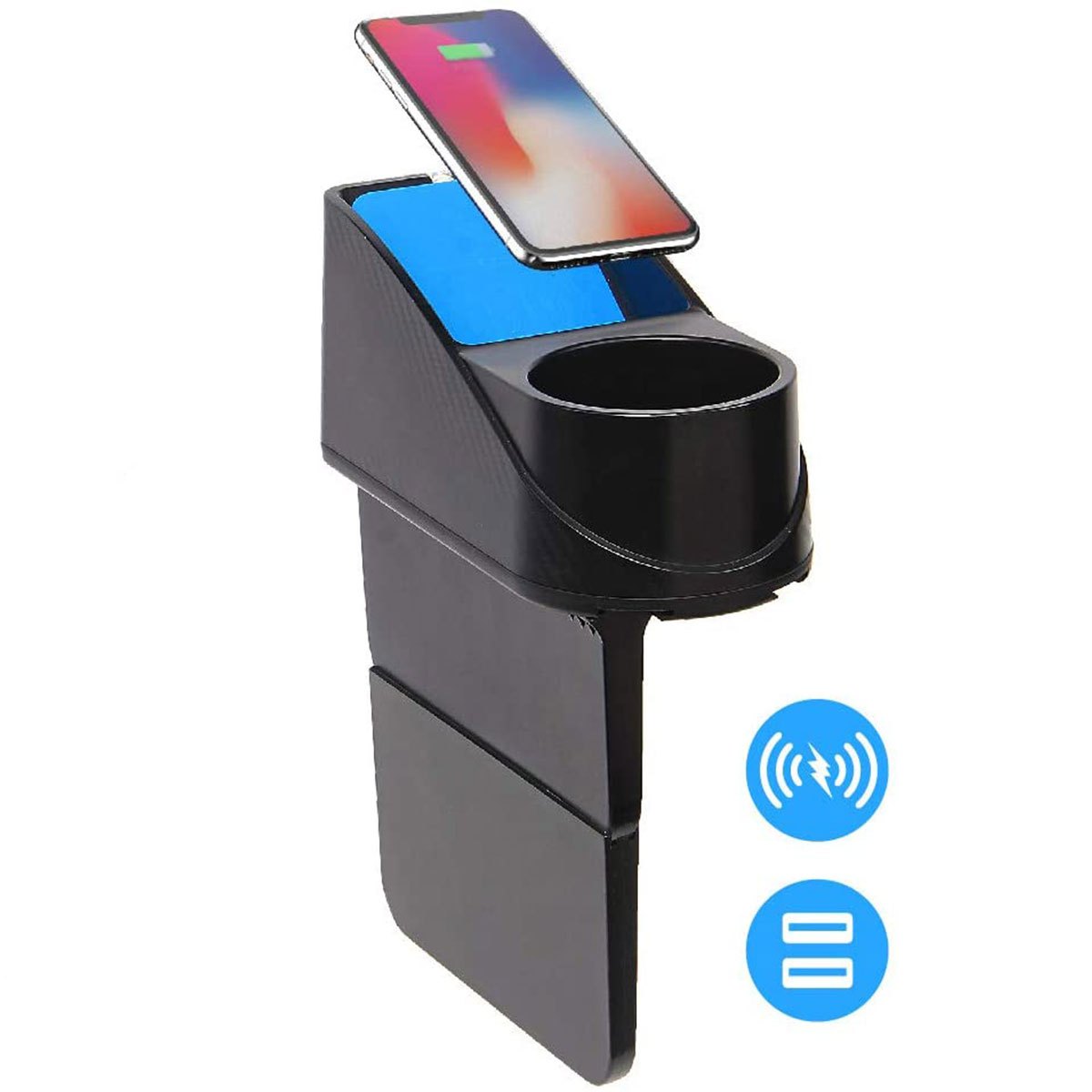 Auto Wireless-Ladegerät mit Getränkehalter Kompatibel mit iPhone 11, XS, X 8 uvm